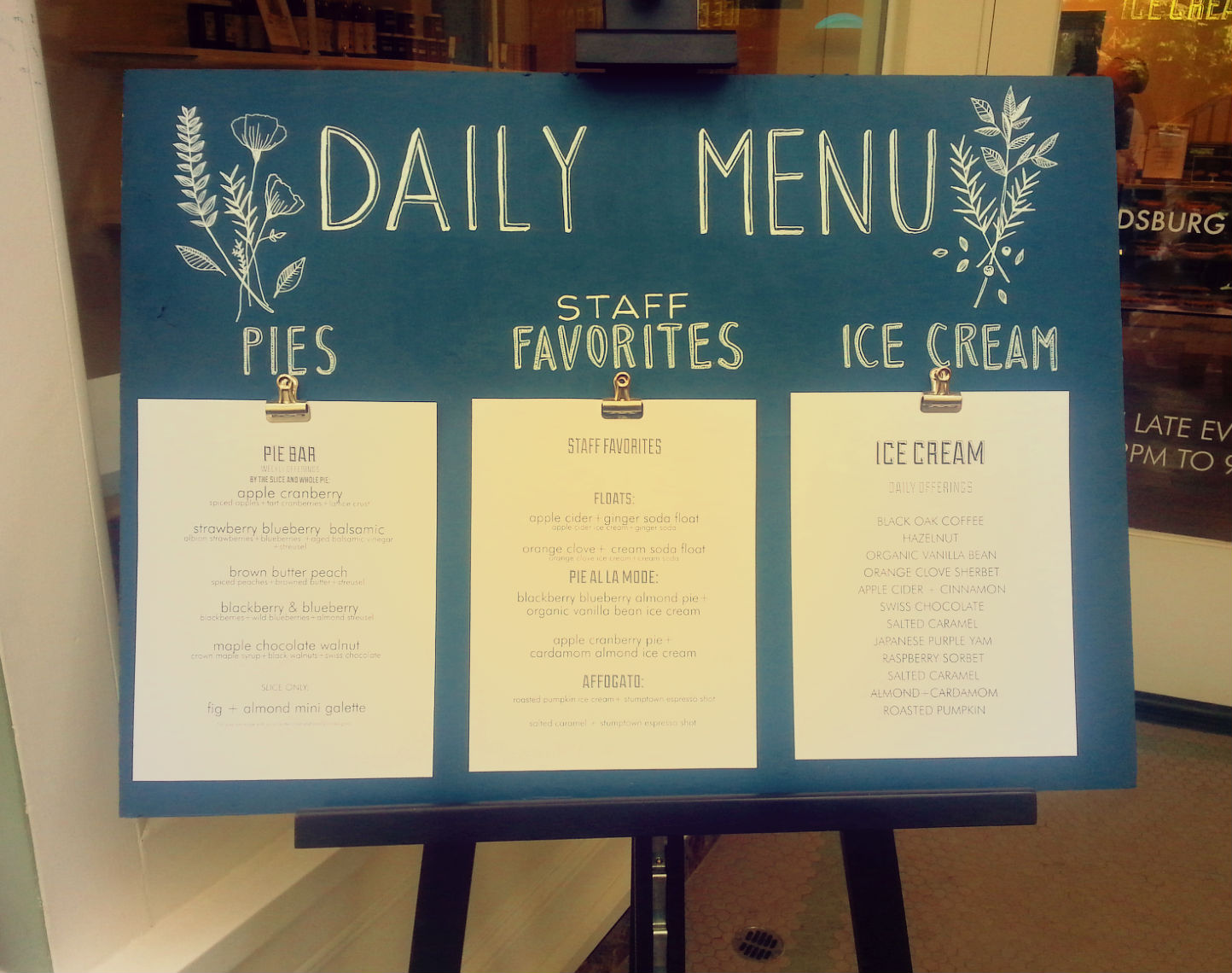 Daily Menu at Noble Folk Ice Cream and Pie Bar, Healdsburg