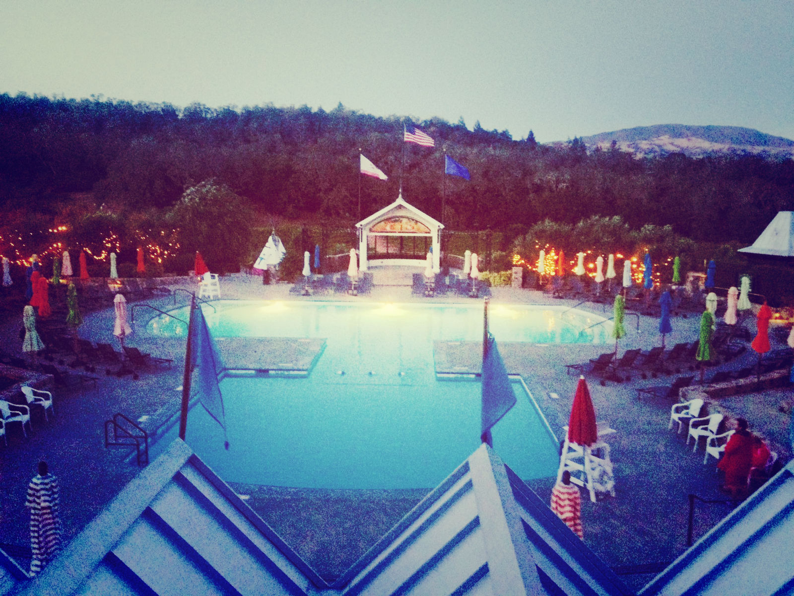 The Pool and Cabines at Francis Ford Coppola Winery