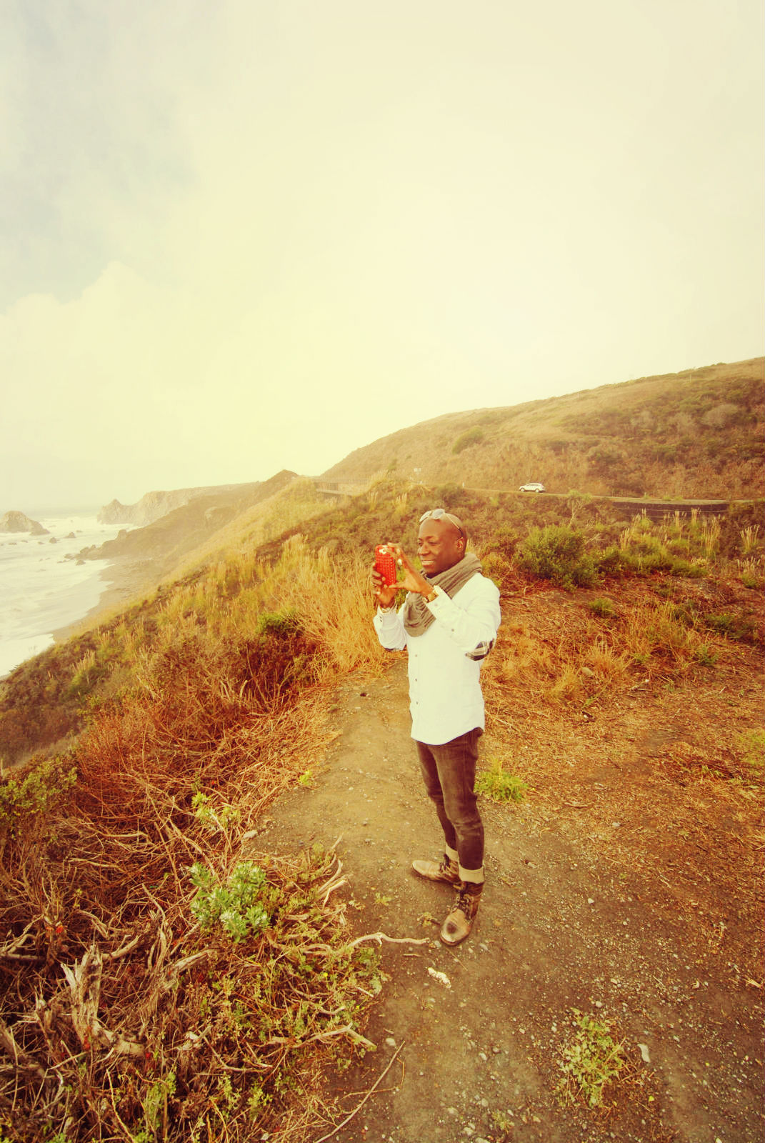 Stopping to take a picture along Highway 1
