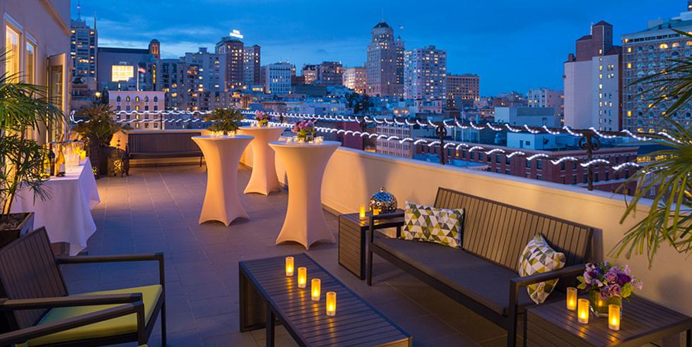 Terrace view at night, Samuel Suite, Hotel Adagio