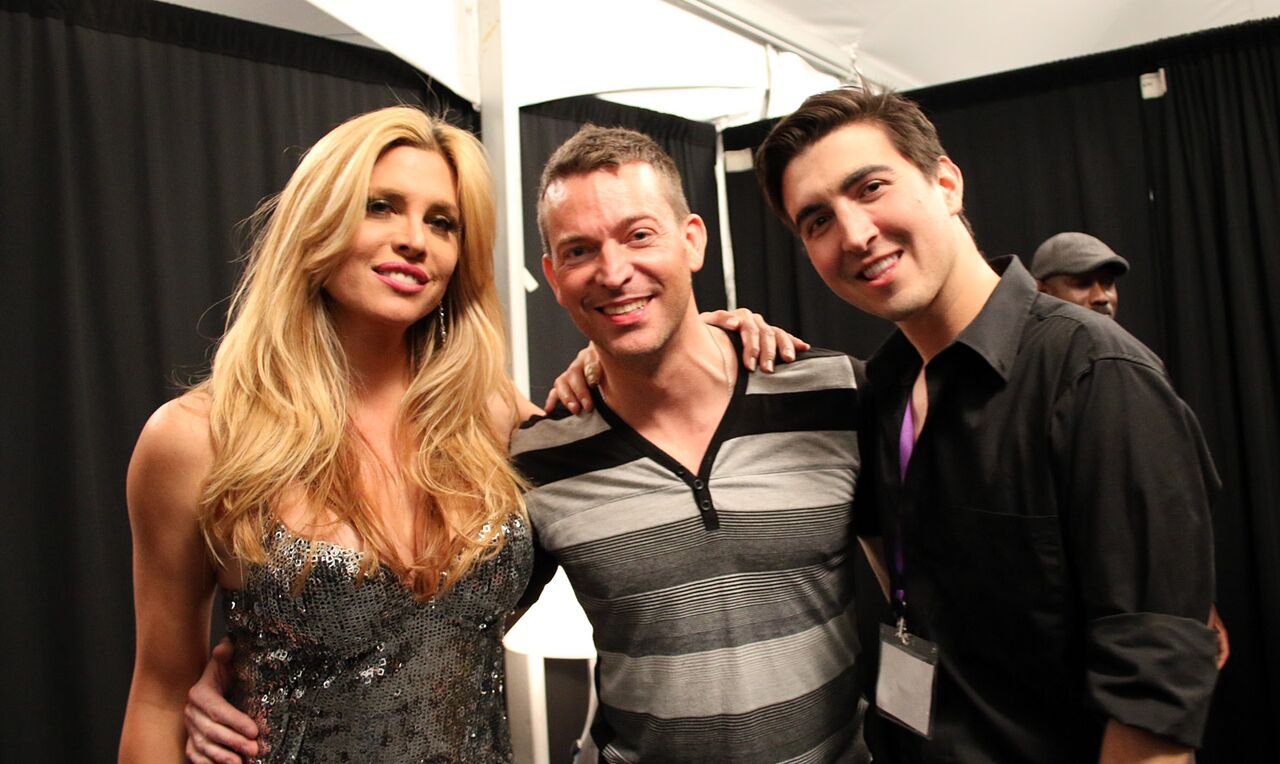 Backstage at REVUE (L to R): Candis Cayne, Levi Kreis, Davey Silva