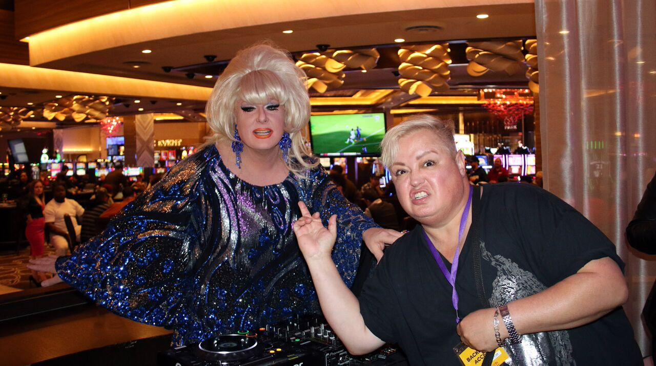Lady Bunny and Jimmy James at REVUE post-party