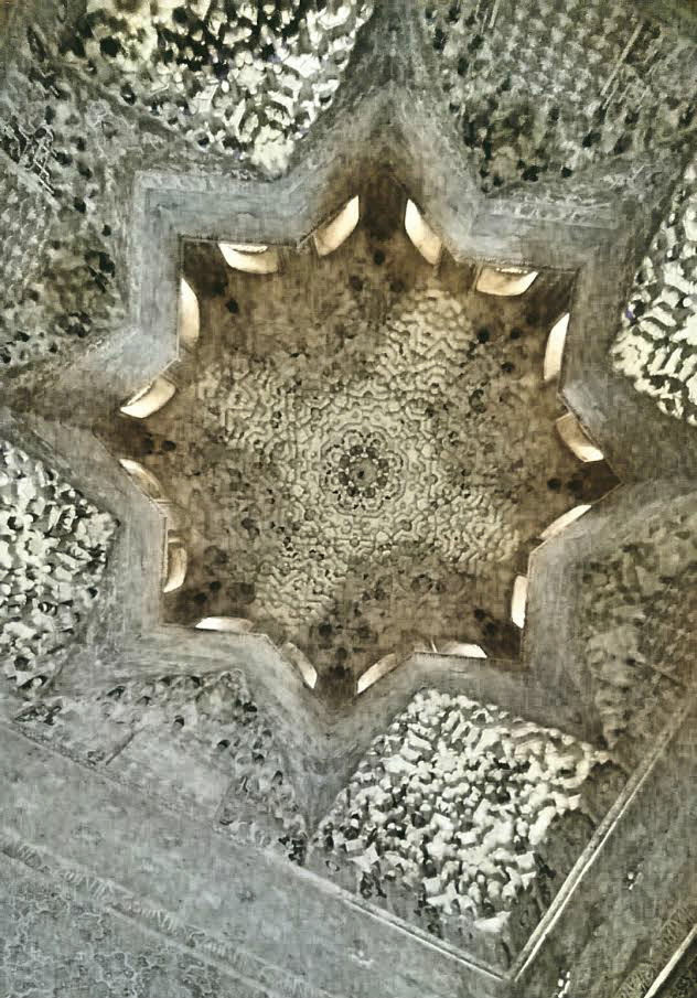 One of the intricate ceilings of  La Alhambra