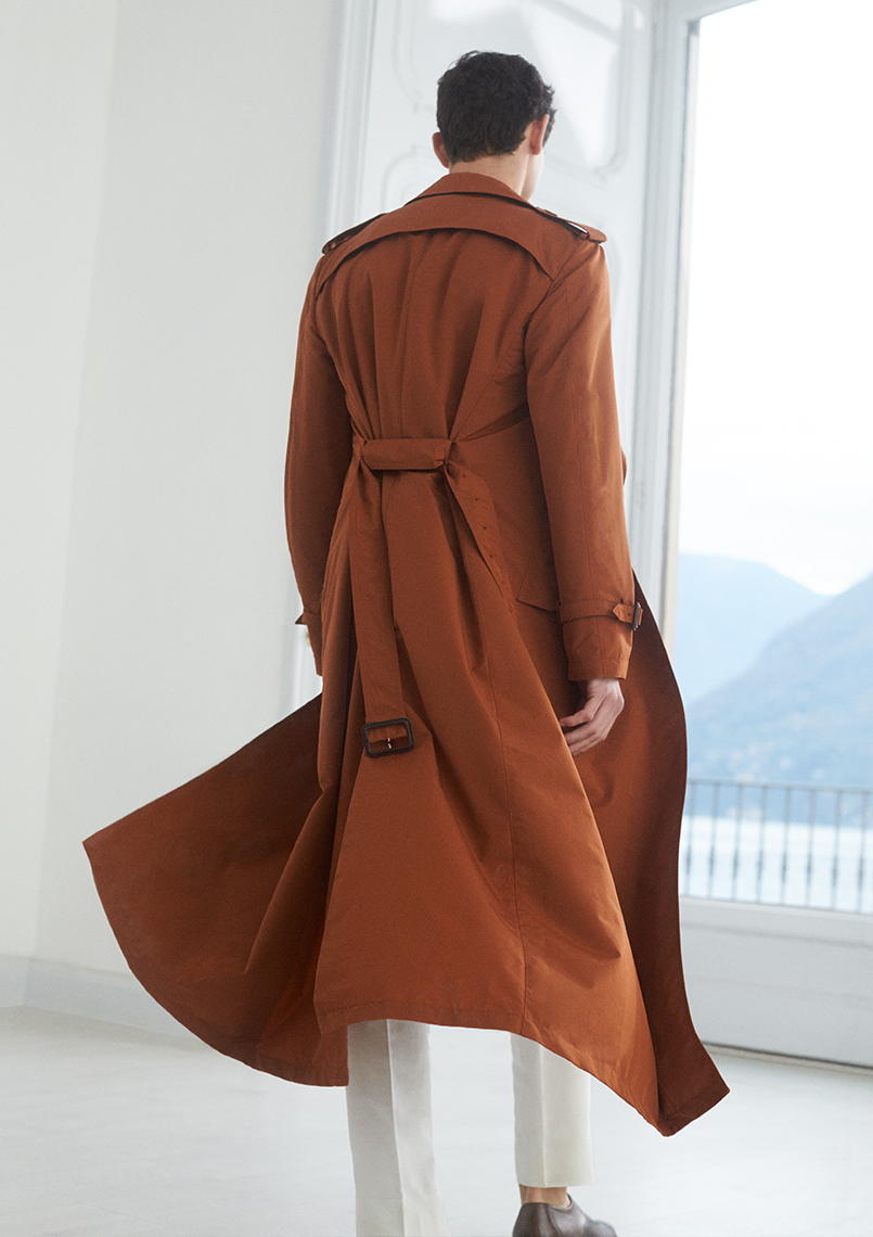 Canali-rust-orange-raincot-trench